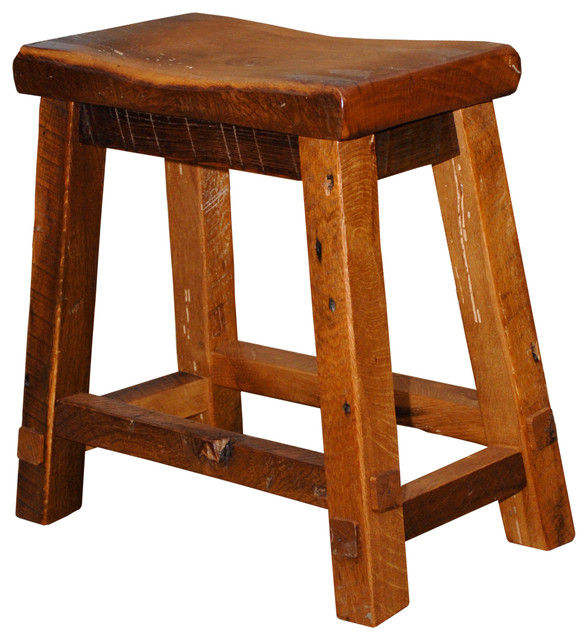 Phenomenal Rustic Barn Wood Bar Height Saddle Stool 30 High Urban Distress Stain Pdpeps Interior Chair Design Pdpepsorg