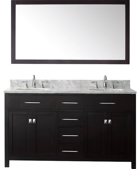 Pembroke Double Bathroom Vanity, Round Sink, Without Faucet, 60&x27;&x27;.