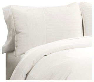 Thin Stripe Texture Quilt White 3-Piece Set - Contemporary - Quilts And Quilt Sets - by Lush Decor