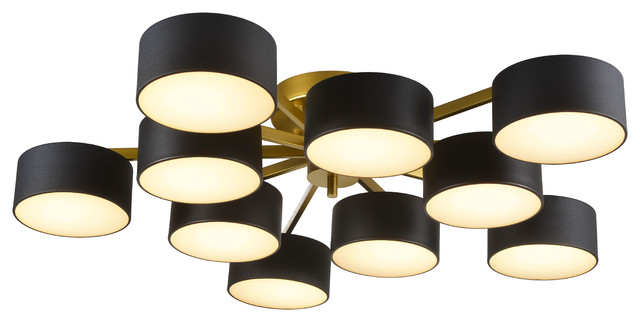 Gold Frame Flushmount Light Fixture Black Shades White Shade Cover Contemporary Flush Mount Ceiling Lighting By Design Living