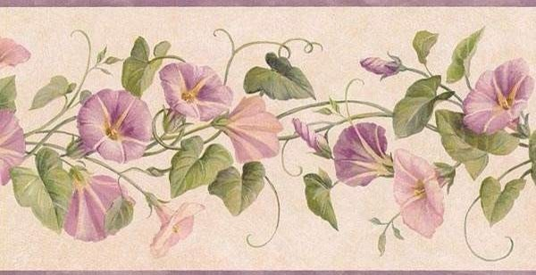 Lavender DW30083B Floral Wallpaper Border, Roll - Traditional ...