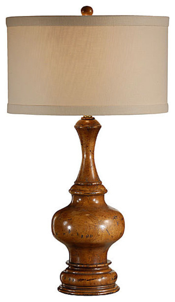 High Country 1 Light Table Lamp in Hand Turned Wood Farmhouse Table Lamps