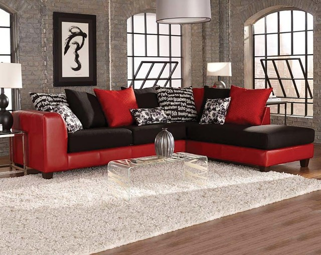 Uptown Red Two Piece Sectional Sofa eclectic : two piece sectional couch - Sectionals, Sofas & Couches