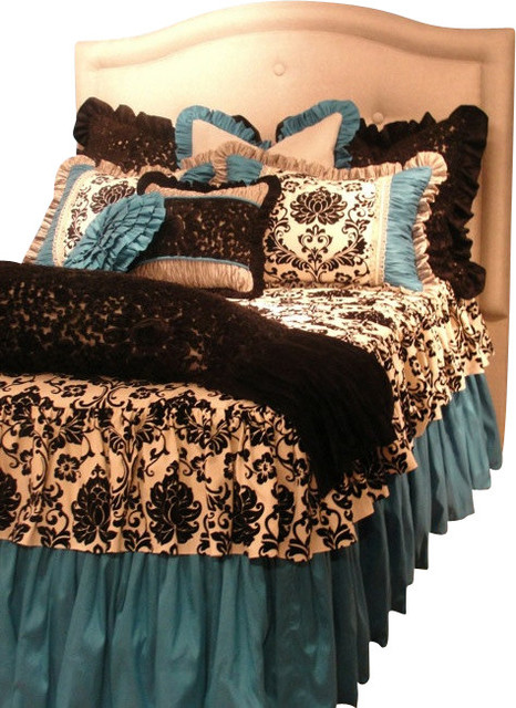 Twin Size Turquoise Black And White Damask Toile S Bedding Set