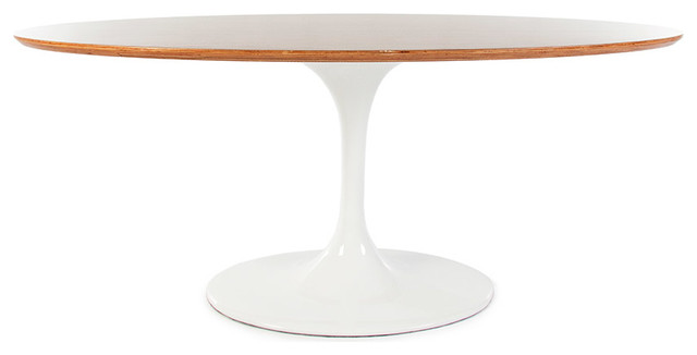 Oval Tulip Table With Real Walnut Veneer Top, 67