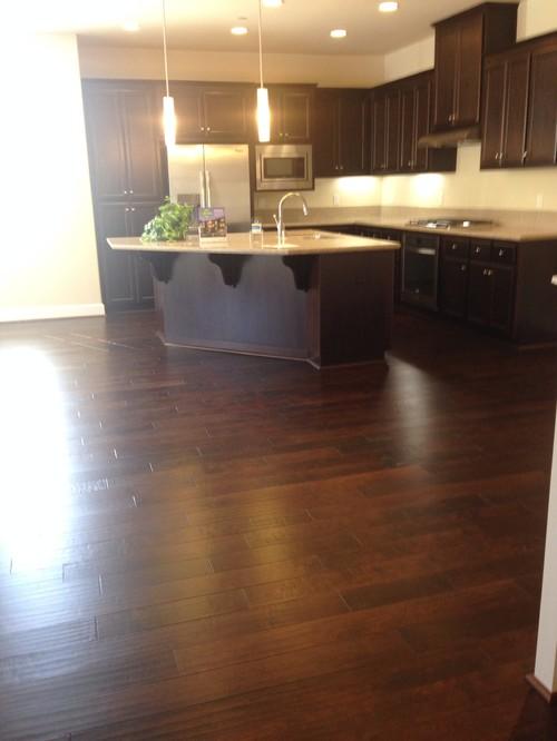 Dark Wood Floor With Cabinets
