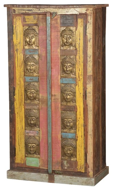 Chesterhill Brass Inlay Rustic Reclaimed Wood Armoire Asian