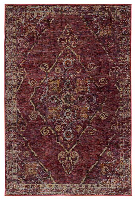 Oriental Weavers Andorra 7135e Red Gold Area Rug Contemporary