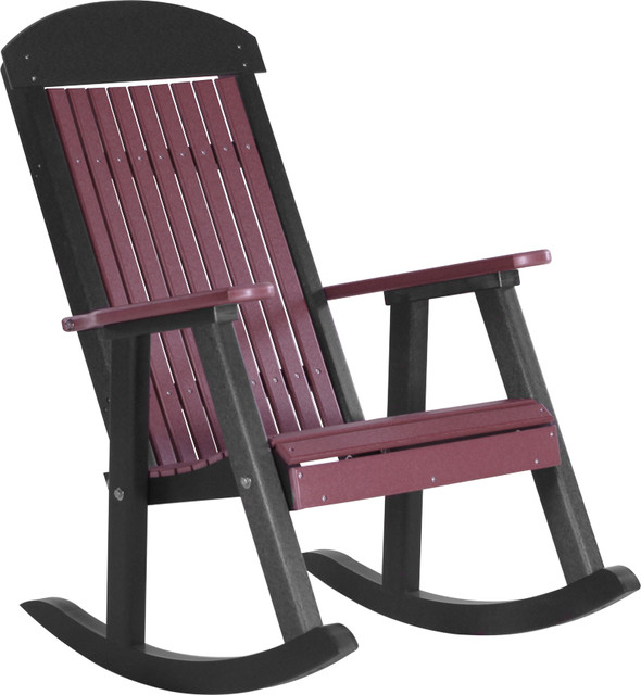 Poly Highback Porch Rocking Chair Cherrywood and Black Modern Outdoor Ro