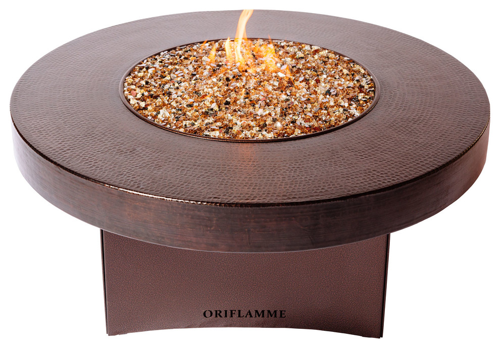 Oriflamme Gas Fire Pit Hammered Copper Gas Fire Pit Table W Fire Glass Brown Traditional Fire Pits By All Backyard Fun