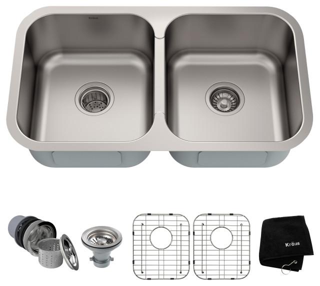 "32"" Undermount Stainless Steel Kitchen Sink, Double 50/50 Bowl"