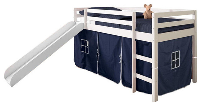 Horner Kids Twin Loft Bed With Slide And Tent Contemporary
