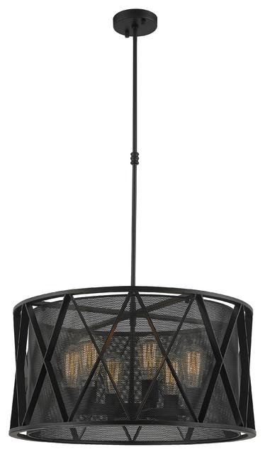 Industrial Mesh Cage Retro Round Drum 6 Light Pendant, Matte Black, 24.