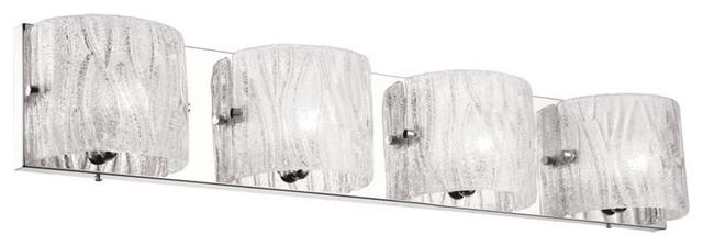 Freya 4-Light Vanity With Sugar Glass, Polished Chrome