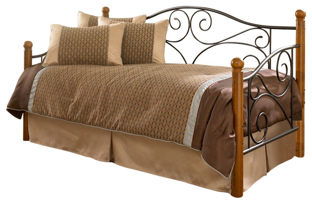 Doral Complete Metal Daybed With Link Spring And Trundle Bed Pop-Up Frame, Twin.