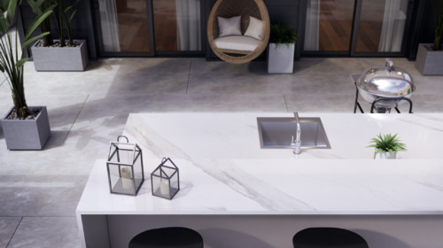Outdoor Kitchen Mimics Marble Countertops