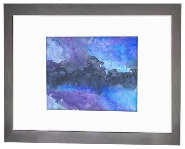 Watercolor Painting, Abstract Art, Enrapture Blue Atmospheric Sky Painting