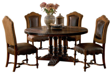 Burgundy 60 round dining table with 4 spindle base for Traditional dining table bases