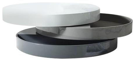 Trio Lacquer Tone Round Swivel Coffee Table Modern Coffee - Round rotating coffee table