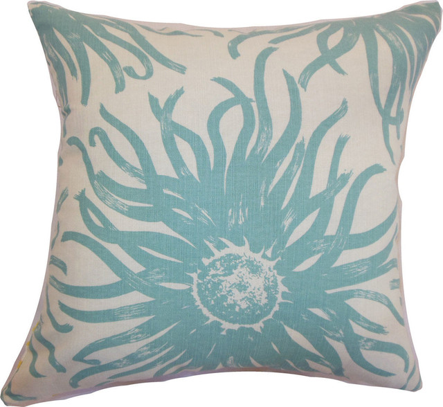 Decorative Down Pillows : Ndele Floral Down Feather Filler Pillow, Aqua, 20