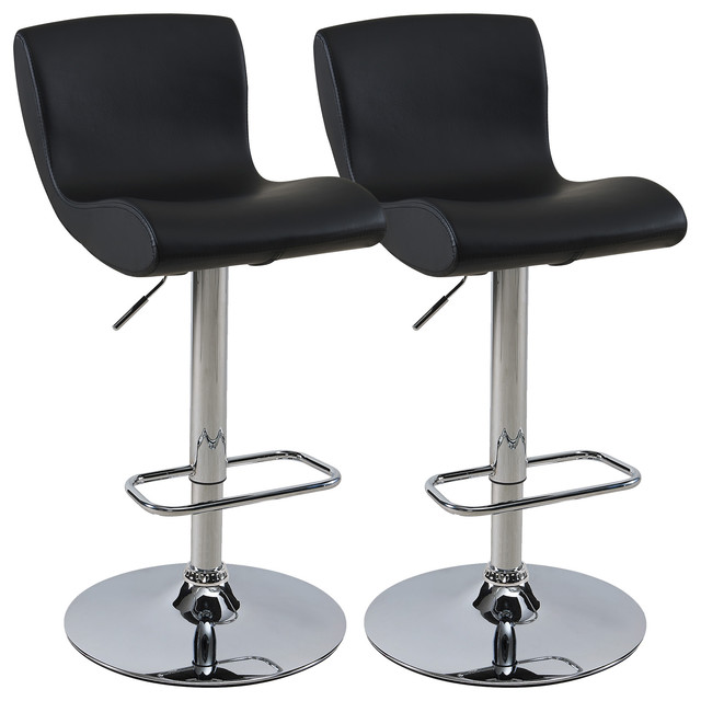 Kitchen Bar Stools Canada: Faux Leather Adjustable Height Stool, Set Of 2, Black