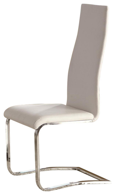 Beau White Faux Leather Dining Chairs With Chrome Legs, Set Of 2