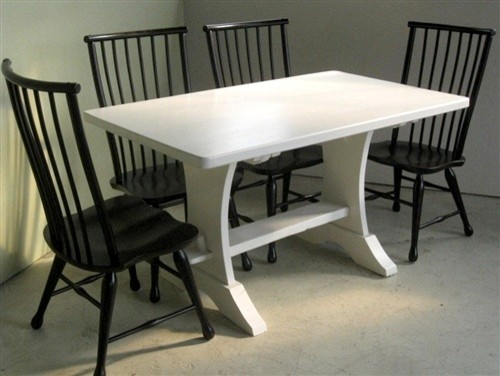 White Wash Trestle Table From Salvaged Barn Wood Farmhouse
