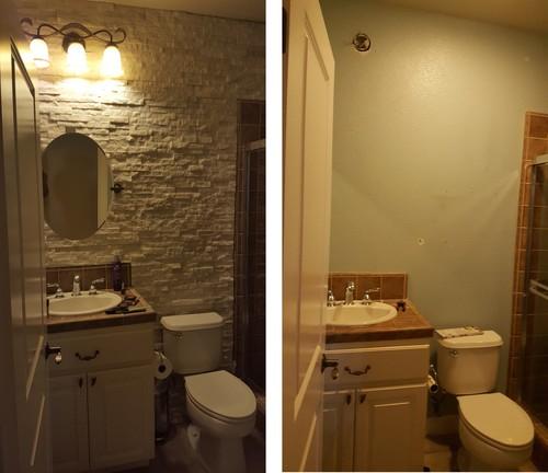 Need help with my guest bathroom ledge stone design for Help design my bathroom