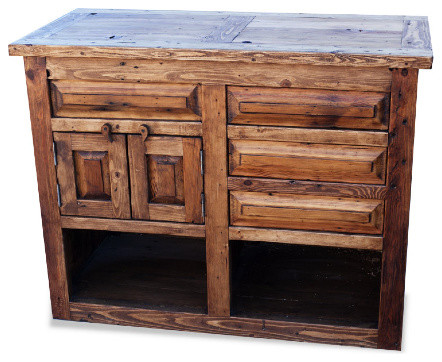 "Reclaimed Wood Vanity With Open Cabinets, 40""."