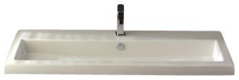 Rectangular White Ceramic Self Rimming, Wall Mounted Or Bathroom Sink.
