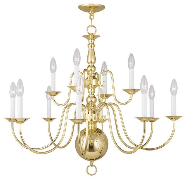 Williamsburgh Chandelier, Polished Brass