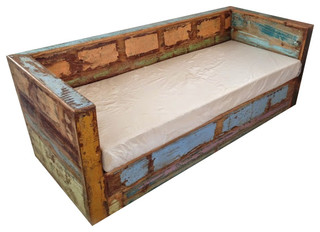 Reclaimed Boat Wood Sofa Eclectic Sofas By Design