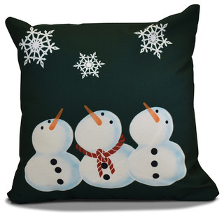 "Snowman Throw Pillow, Dark Green, 16""x16"""