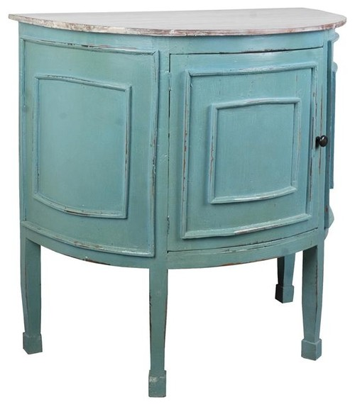 Sunset Trading Cottage Half Round Cabinet, Distressed Beach Blue/Gray