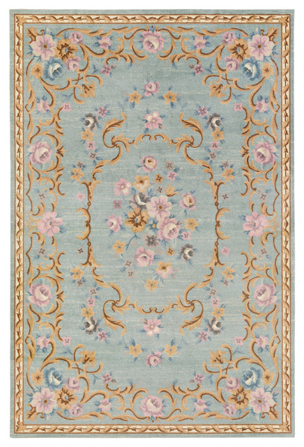 Traditionalored Blue Country Flowers French Rug