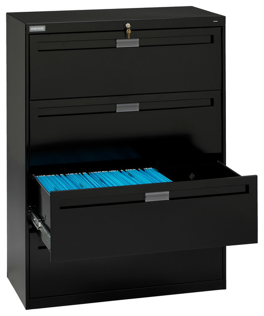 "42"" 4-Drawer Lateral File Cabinet, Black contemporary-filing-cabinets"