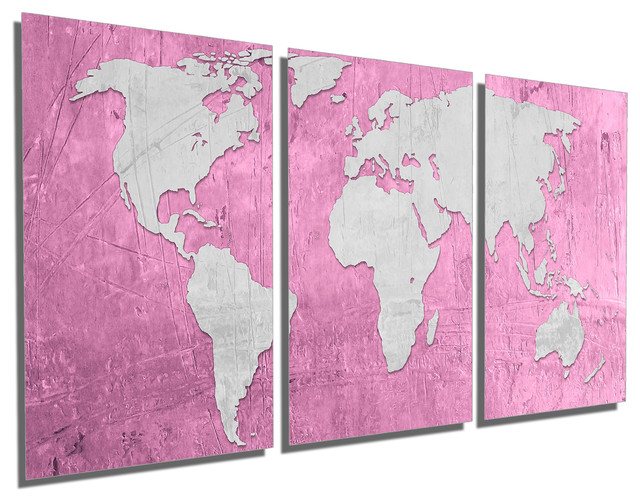 Pink Pale Plum Silver World Map Metal Print Wall Art 3 Panel Split 60x30
