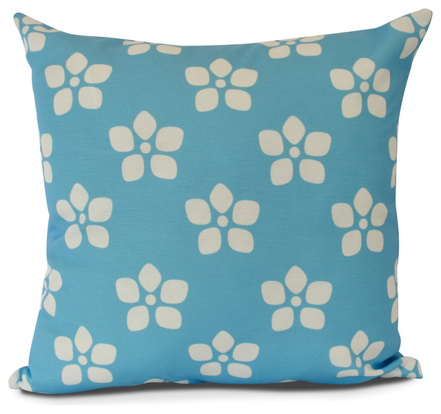 Floral Outdoor Pillow Mid Blue Contemporary Outdoor Cushions