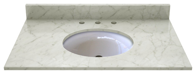 Carrera White Marble Top With Pre-Mounted Ceramic Bowl