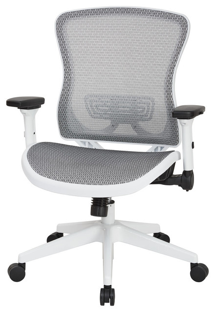 Breathable Mesh Manager&x27;s Chair With Adjustable Flip Arms, White Mesh.