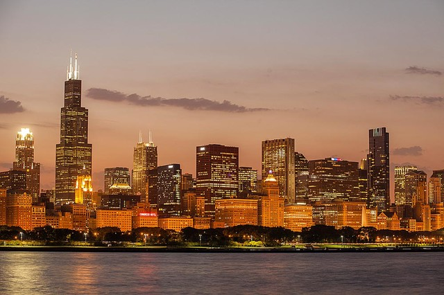 Perfect Glowing Chicago Skyline Wallpaper Wall Mural, Self Adhesive Contemporary  Wall Decals Part 3