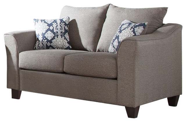 Astounding Coaster Salizar Gray Loveseat With Flared Arms Bralicious Painted Fabric Chair Ideas Braliciousco