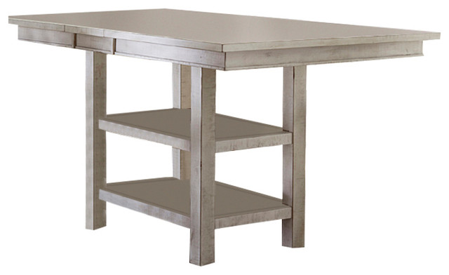 Willow Rectangular Counter Height Table, Distressed White.