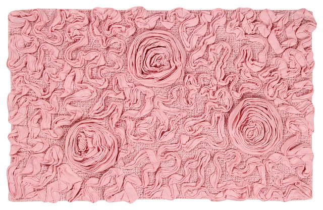 Bell Flower Bath Rug, Pink Contemporary Bath Mats