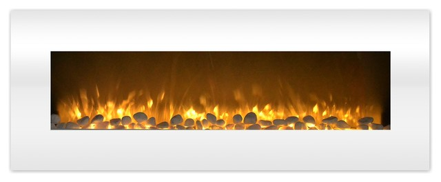 Electric Fireplace Color Changing Led Flame No Heat 50 Inch White
