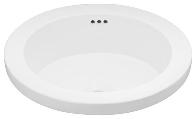 "Ronbow Bathroom Sinks ronbow essentials bandeau 16"" round ceramic drop-in bathroom sink"
