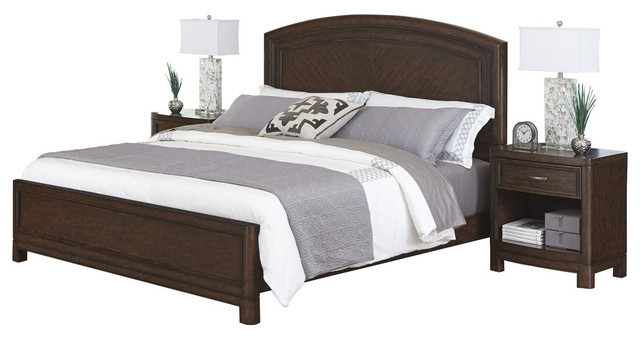 crescent hill queen bed and 2 nightstands transitional