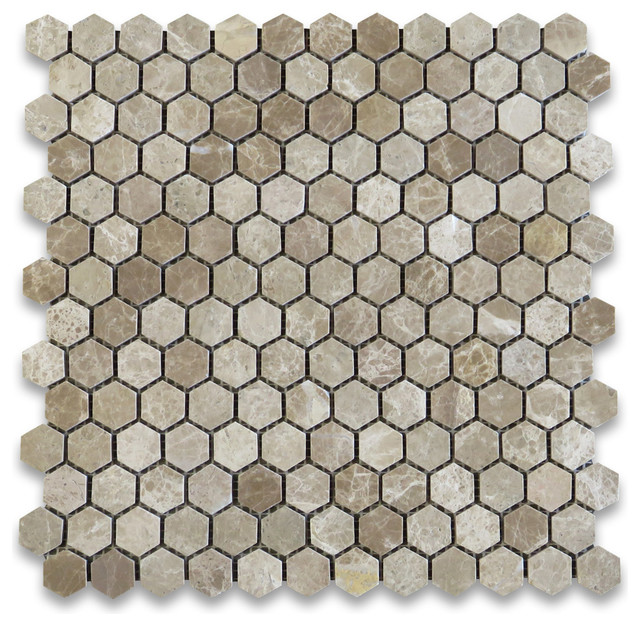 "12""x12"" Emperador Light Hexagon Mosaic Tile Polished, Chip Size: 1"""