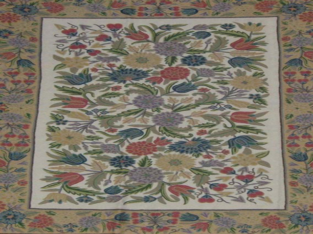 Crewel Rug Pastel Flowers Multi Chain Stitched Wool Rug