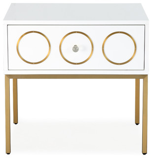 Ella Side Table - White, Gold